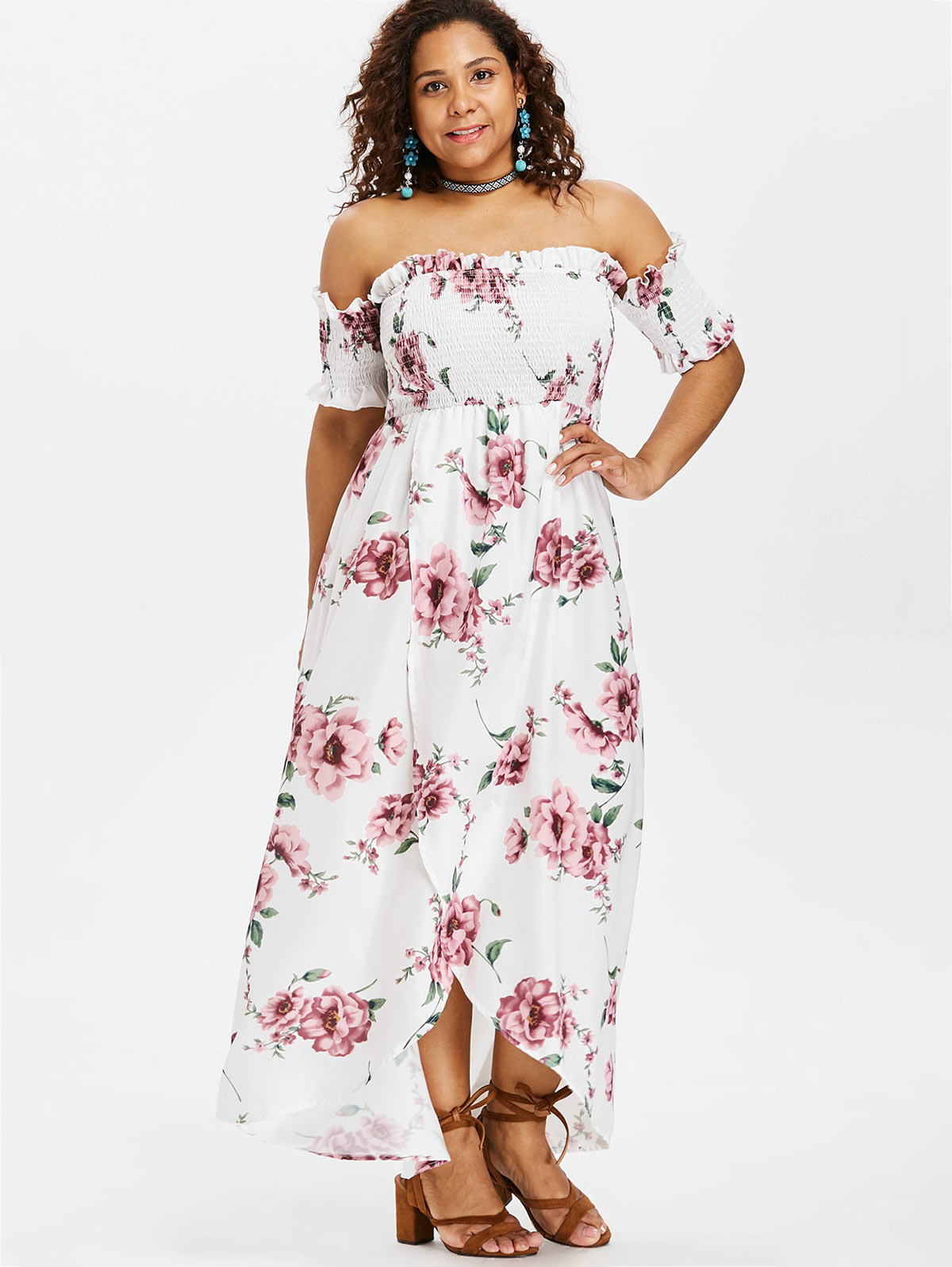 6ce50093b7020 Detail Feedback Questions about Wipalo Plus Size Floral Print Off Shoulder  Dress High Waist Asymmetrical Short Sleeves Shirred Long Dress Casual Maxi  ...
