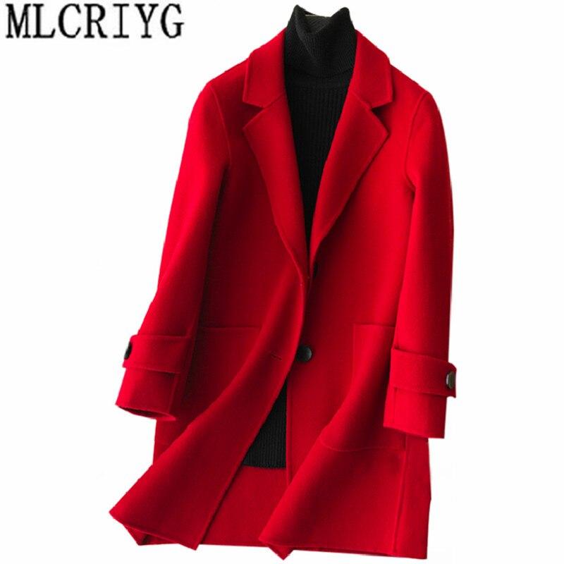 424f03ebdd6 2019 корейский стиль 100% шерстяное пальто женское средней длины  двухстороннее кашемировое пальто осень-зима