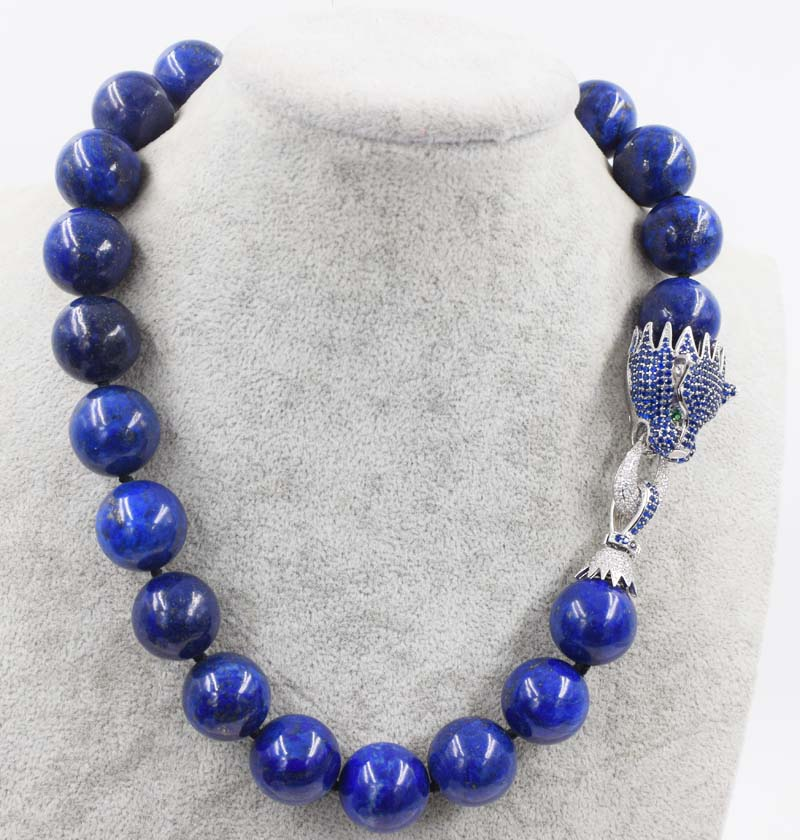 lapis lazuli round 18mm blue leopard clasp necklace 18inch wholesale beads nature FPPJ woman free shipping hot sale aaa 18 12mm nature round lapis lazuli necklace
