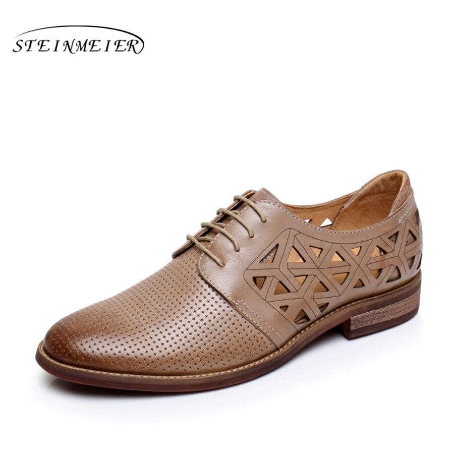Véritable peau de mouton en cuir richelieu yinzo femmes plat chaussures à la main vintage Britannique oxford chaussures pour femmes 2018 beige brun rouge