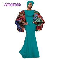 2018 New Autumn African Tribal National Printing Big Sleeve Sexy Long Dresses for Women Africa Bazin Riche Maix Dresses WY2827