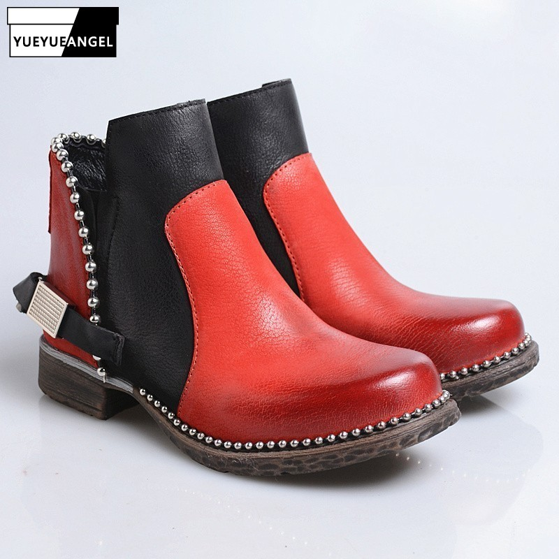 England Style Punk  Boots Women Vintage Street Rivet Round Toe Block Heel Ankle Boot Top Quality Winter Fleece Botas MujerEngland Style Punk  Boots Women Vintage Street Rivet Round Toe Block Heel Ankle Boot Top Quality Winter Fleece Botas Mujer
