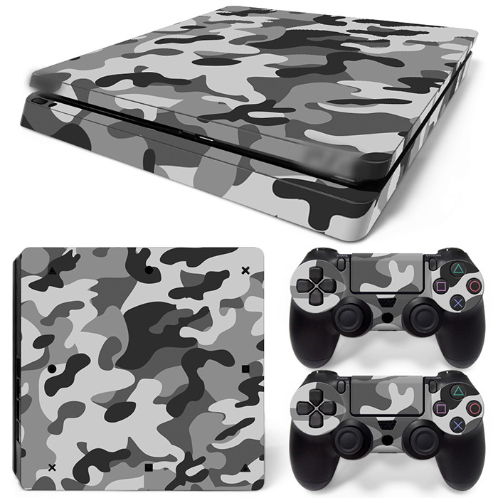 Free Drop Shipping - Air Release vinyl decal console mod kit by System Skin Sticker for ps4 slim-Grey ARMY TN-P4Slim-1532
