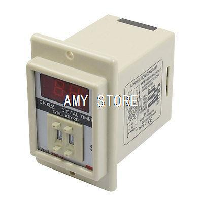 ASY-2D AC 220V 99 Second Digital Timer Programmable Time Delay Relay White ac 220v power on delay timer relay and socket asy 3d 99s relays