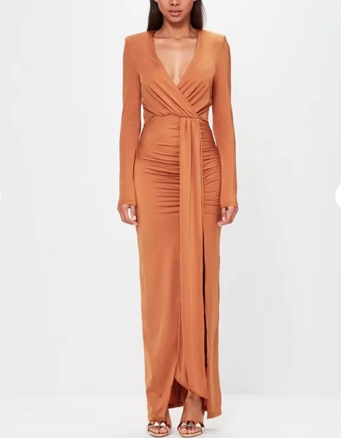 Burnt Orange Maxi Dress Sexy Wrap Solid Plunge Side Split-in Dresses ... 1df6de66b49f