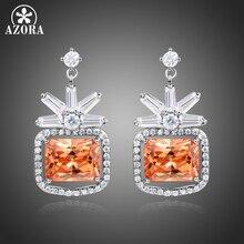 AZORA Popular White Gold Rectangle Cut Champagne Cubic Zirconia Flower Drop Earrings for Women Vintage Silver Jewelry TE0358