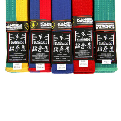 2016 new 100% cotton taekwondo belt colorful white yellow red green blue black professional belt Martial Arts Karate Judo 2.5M