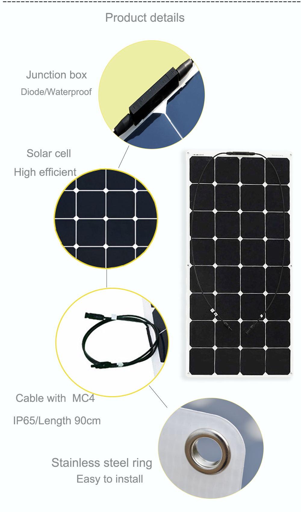 Boguang 100 Pcs 18v 100w Flexible Solar Panel 12v 24v Cell Marine Wiring Diagram 2 1