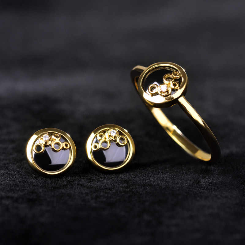 Blucome Ceramic Women Jewelry Sets Gold-color Zircon Stud Earrings Finger Rings Rhinestone Wedding Copper Earring Ring Set
