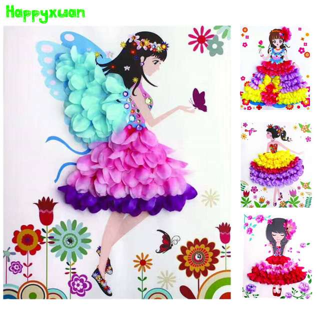 Happyxuan Girls DIY Creative Petal Flower Painting with Frame ...