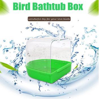 Adeeing Parrot Bird Bathtub with Hooks Cage Accessory Bird Bath Shower Box Random Color 5