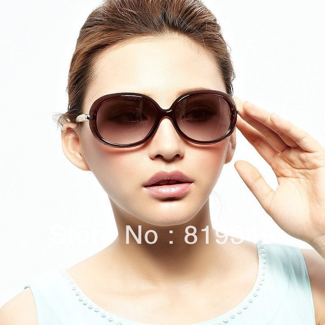 2013 New VANCL Women Sunglasses Logan Fashion Oversized Sunglasses Dark Brown Frame White Glasses Legs FREE SHIPPING