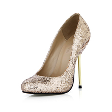 2016 Red Bottom Rave Club Women High Heels Prom Wedding Whoes Lady Gold Glitter Bridal Shoes Metal Thin Heel Party Pump 3845-b2  цены