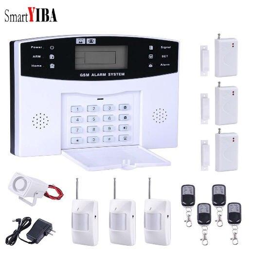 SmartYIBA Wireless 433MHz Home Burglar Security GSM Alarm System PIR Detector Door Sensor Metal Remote Control Kit 433mhz wireless wifi gsm alarm system tft display home security alarm systems with pir sensor door detector sensor