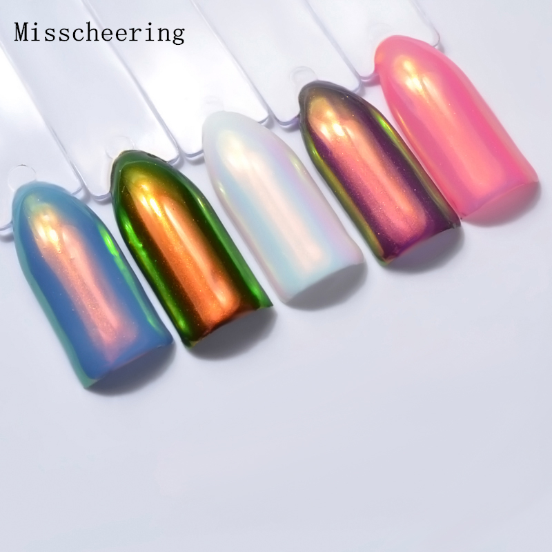Neon Aurora Powder 0.2 g / caja Unicornio Nail Glitter Mermaid Nail Art Pigment Dust Chrome DIY Manicure Nails Art Decoraciones