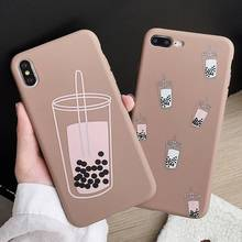 Soft TPU Glossy Case For iPhone 7 8 Plus XS X XR Xs Max Cases For iPhone 6S Plus 6 Plus Case Fashion Milk Tea Phone Cover strawberry tpu soft case for iphone 7 x xs xr xs max 8 plus cases glossy phone case for iphone 6s plus 6 plus fashion cover