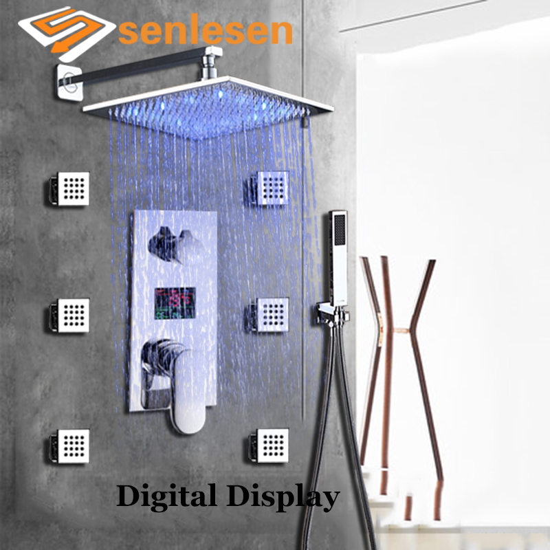 Senlesen Shower Faucet Set Temperrature Digital Display Valve Hot and Cold Mixer Tap Chrome Brass Shower Head Bath Faucets 3 tap connect 3 4 5 gear screw thread thermostatic faucet valve shower room mixing valve cold and hot water switch separator