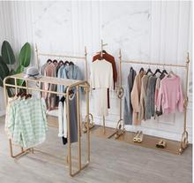Iron clothing store display rack women's clothing store shelves floor-mounted hanging clothes rack combination display special g цена