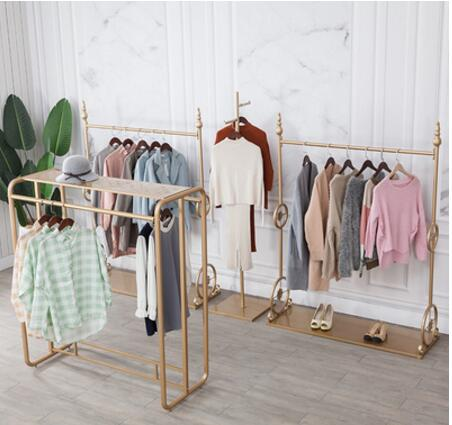 Iron clothing store display rack women's clothing store shelves floor mounted hanging clothes rack combination display special g