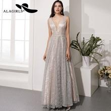 Alagirls Hot Sale V-Neck Prom Dress Floor Length A Line Evening Sexy Sequins Party Vestido de fiesta 2019