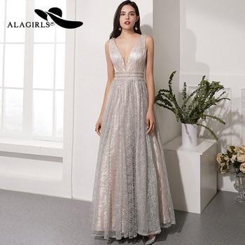 Alagirls Hot Sale V-Neck Prom Dress Floor Length A Line Evening Dress Sexy Sequins Party Dress Vestido de fiesta