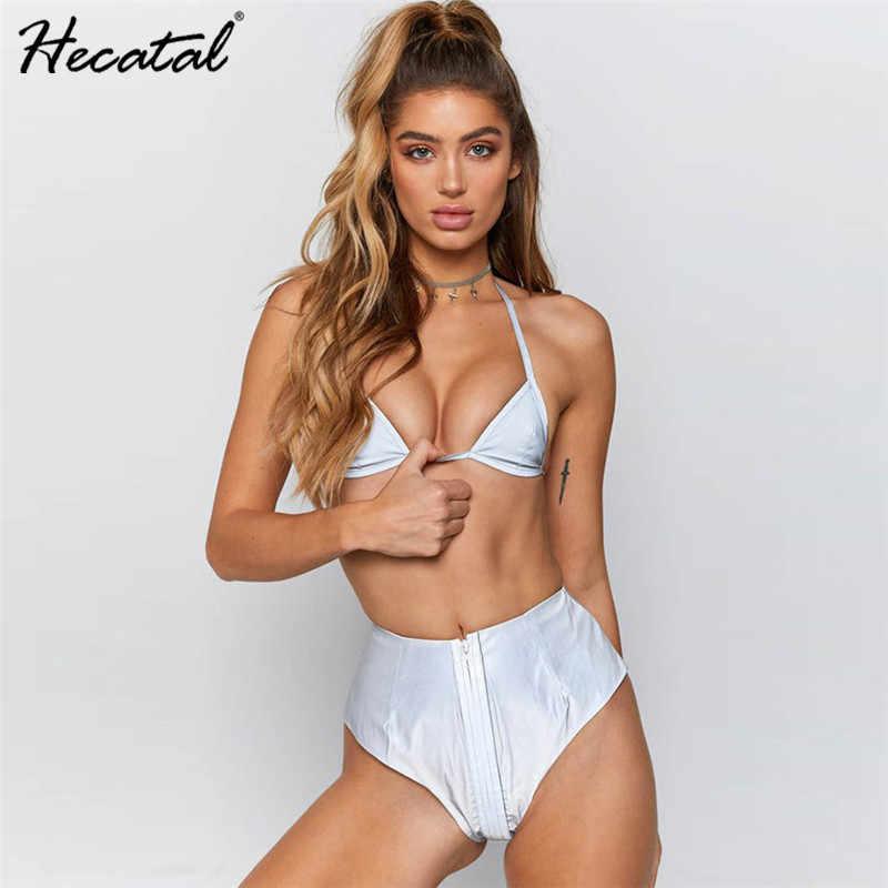 8871fe59c57 Hecatal Solid Swimwear Women Reflective High Waist Sexy Thong Set Bikini  Silver White Swimsuit Smooth Biquini