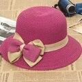 Arco grande Sombrero de Las Mujeres Del Verano 2016 Strawhat Cúpula Arco Sombrero de Paja Trenzada Sunbonnet Plegable Del Sombrero Del Sol Casquillo de la Playa