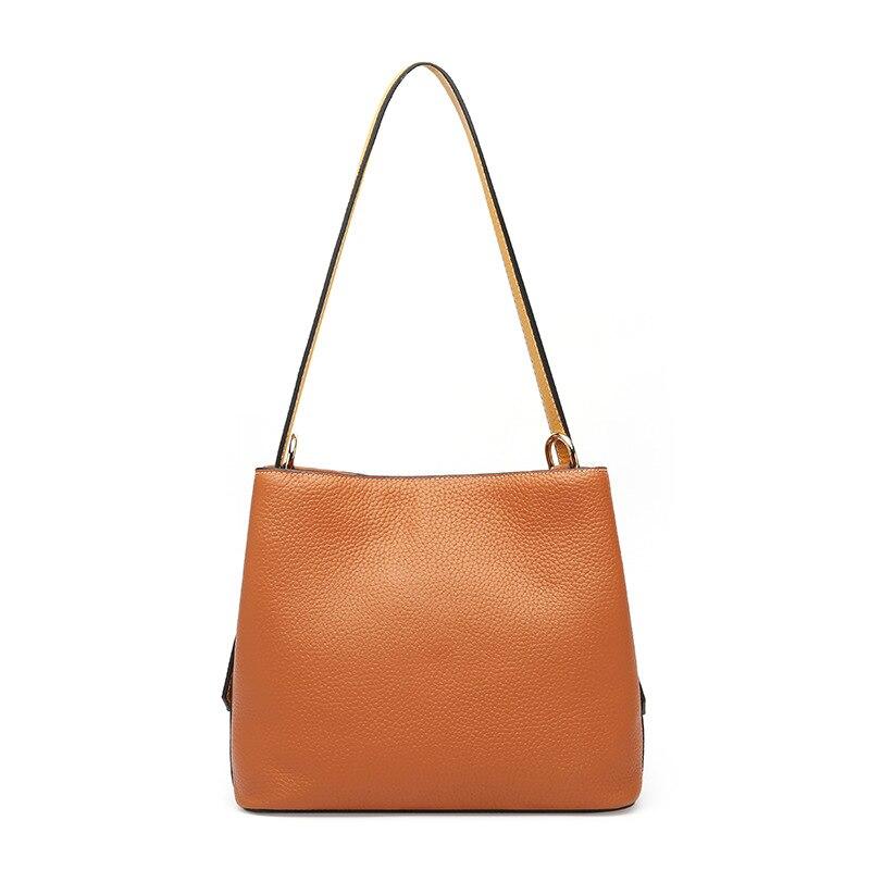 Nueva bolsa de mensajero de cuero vertical tipo cuadrado portátil Europa y los Estados Unidos Cubo de lichi de cuero de moda - 3