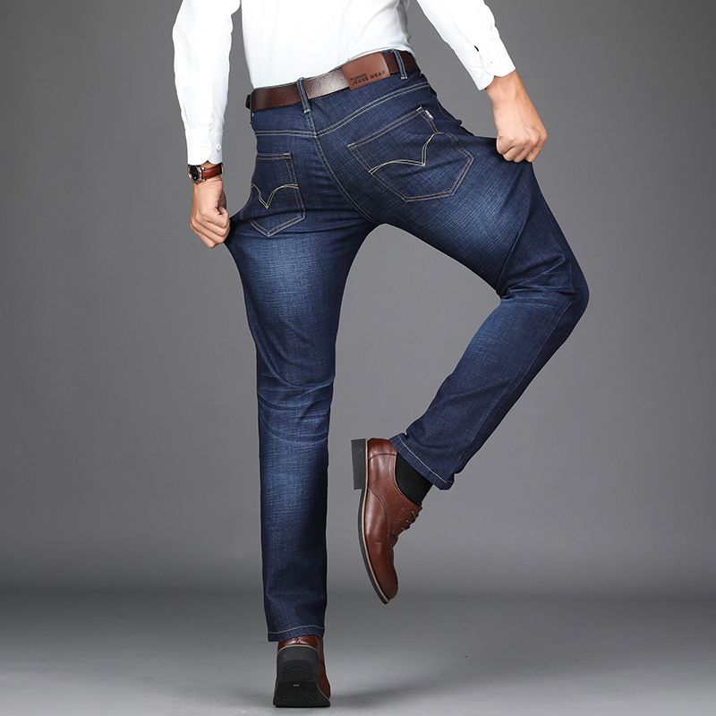 2018 New Business Stretch Men Jeans Fashion Ruched Smart Casual Solid Straight Pants Denim Trousers Plus Size 38 40 42 #802