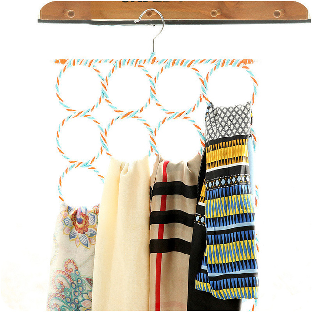 Lasperal 12 Hole Storage Holder Rings Rope Scarf Wraps Shawl Hook Hanger Room Organizers