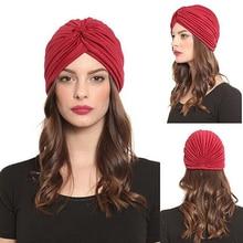 Women Stretchy Hat Turban Head Wrap Band Chemo Bandana Hijab Pleated Indian Cap