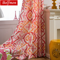 Cotton Polyester Eco Half Shading Japan Style Red Curtain for Living Room Fashion Creative Window Treatment Drapes for Kitchen