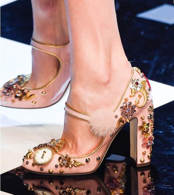 цены Hot Sale Fashion Young Women Shoes Ankle Buckle Gold Beading Luxury Crystal-embellished Dress Shoes Round Toe Pumps Drop Ship