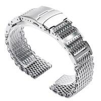 Silver Shark Mesh Full Stainless Steel 20MM 22MM 24MM Dive Diving Swimming Watchband Bracelet For Men
