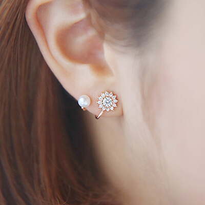 2016 new arrival fashion hot sell sunflower design 925 sterling silver ladies stud earrings jewelry birthday gift in Stud Earrings from Jewelry Accessories