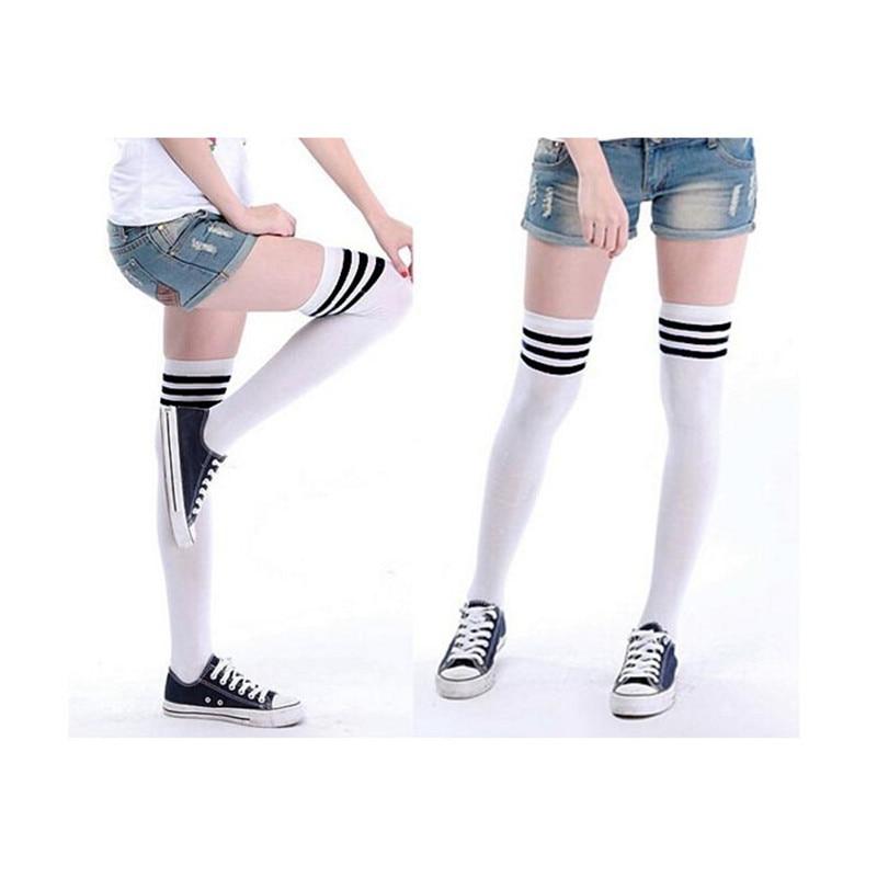 snowshine3 YLWW 1 Pair Sport Thigh High Over Knee High Socks Girls Womens New Sports socks