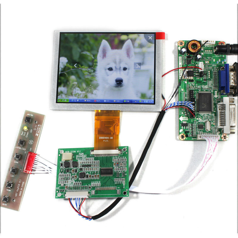 DVI VGA LCD Controller Board +5 ZJ050NA-08C Replace AT050TN22 640x480 LCD Screen
