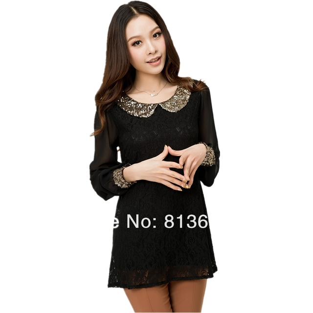 Special wholesale large size women maternity Vintage sequins lace stitching long-sleeved chiffon shirt