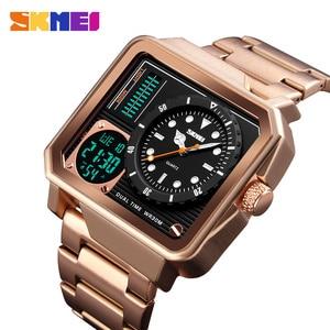 Image 2 - Часы наручные SKMEI Мужские кварцевые, роскошные модные цифровые аналоговые спортивные повседневные водонепроницаемые из нержавеющей стали