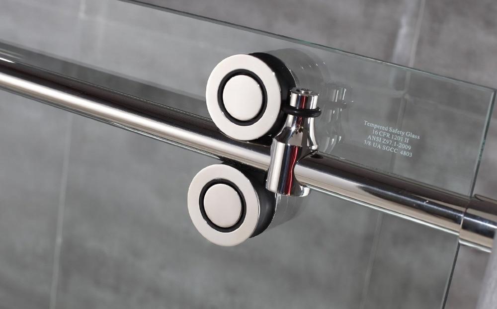 Diyhd 5ft/6.6ft Нержавеющаясталь twin ролик душ дверь раздвижные, безрамные душевая Комплектующие дверей с 90 градусов возвращения Панель