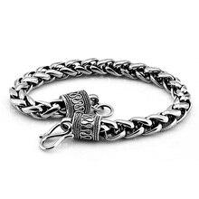 Shitai pulsera de plata estilo retro para hombre, brazalete 100% Plata de Ley 925 grueso de 7 mm y 20cm, color plateado, estilo coreano