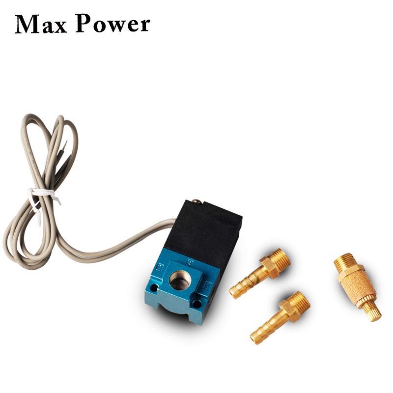 Pneumatic Fitting 1/8NPT Quick Connect 3 Port Electronic Boost Controller Solenoid Valve With Brass Silencer 12V