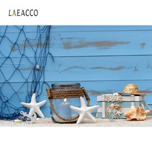Laeacco Ship Starfish Anchor Candle Bottle Blue Wooden Board Baby Photo Backgrounds Photography Backdrops For Studio