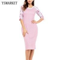 Phụ nữ Sọc Floral 3/4 Dài Tay Midi Dress Thời Trang Casual Knee Length In Chắp Vá Vỏ Bọc Dresses E61640