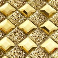 Cristallo bordo molatura del vetro mattonelle della parete mosaico sfondo adesivi murali soggiorno dorato Bagno doccia Mattonelle di Mosaico KTV