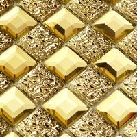 Crystal edge grinding glass mosaic background wall tile living room wall stickers golden KTV Bath shower Mosaic Tile