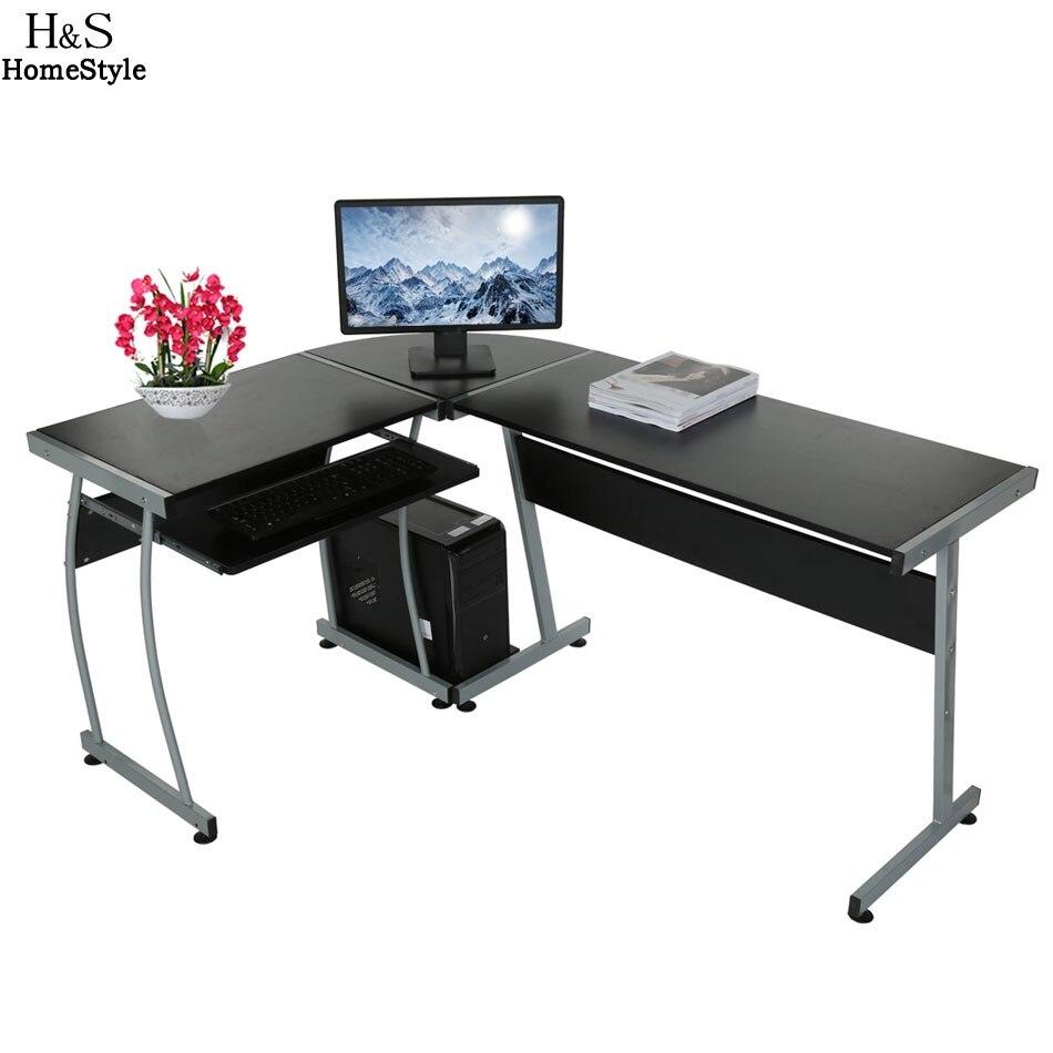 Homdox New Home Office L Forme Coin Ordinateur PC Bureau Table 3-pièces Coin Bureau N30 *
