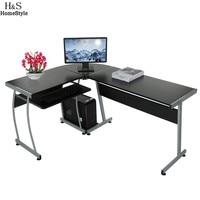 Homdox New Home Office L Shape Corner Computer PC Desk Table 3 Piece Corner Desk N30*