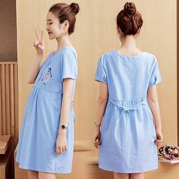 14c34300e 6612  2019 verano moda maternidad camisas dibujos animados bordado rayas  algodón Tops ropa para mujeres embarazadas vestido de embarazo