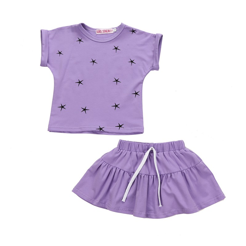 Baby Girls Causal Clothes Sets Summer Star Print T Shirts + Pleat Skirts Overalls Cotton Outfits Clothing Sets star island summer
